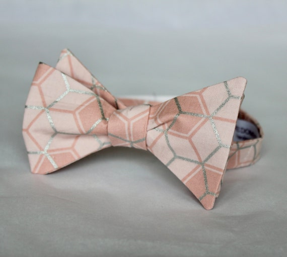 Bowtie in Blush Peach and Silver Hexagons - Clip on, adustable strap, or self tying - wedding neckties - ring bearer outfit
