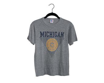 Vintage Michigan Wolverines Heather Grey Soft Track Shirt Grid Pattern Crewneck T-Shirt, Made in USA - Small
