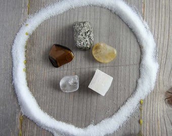 Crystal set - prosperity - wiccan crystals, witchcraft gemstones, wicca pagan supplies supply occult witchy home decor
