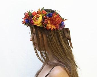 Autumn Harvest Floral Headpiece, Demeter Crown, Autumn Flower Crown, Floral Crown, Harvest, Harvest Goddess, Autumn Crown, Fall, Orange, Fae