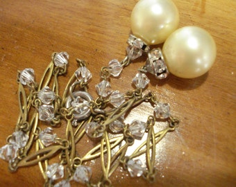 Vintage Necklace Faux Pearl and Diamante Drops 30s 40s