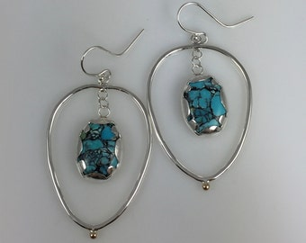 Handmade Kingman Turquoise Drop Sterling Silver and 14K Gold  Earrings