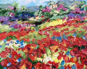 """Tuscany Scenery with  Poppies Landscape Original painting 6 x 6"""""""