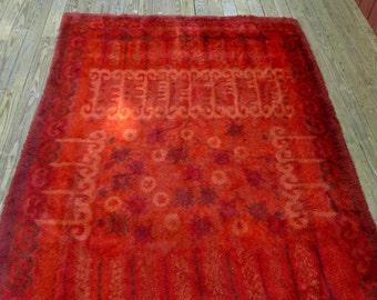 Beautiful Large Vintage Bohemian Plush Pile Area Rug Bold Red Patterns 7.5' x 11.5'