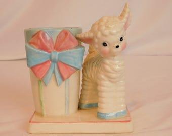 Vintage Curly Lamb Baby Planter, Easter Planter, Ceramic Plant Holder