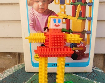 Vintage Playskool Bristle Blocks In Original Box, 1978 Playskool INC