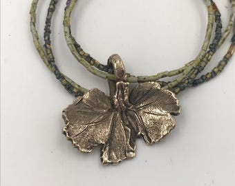 Bronze Geranium Leave Pendant Necklace on Double beaded Stands |The Bleu Giraffe |Metal Clay | Metal Smithing | Botanical | Artisan Jewelry