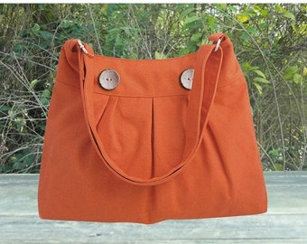 Halloween Sale 10% off orange cotton canvas travel bag / shoulder bag / messenger bag / diaper bag / cross body bag, zipper closure
