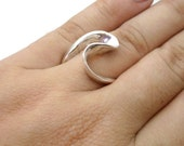 Liquid Silver Forged Ring - hand forged, artisan, curves, statement ring, gift for her, contemporary,