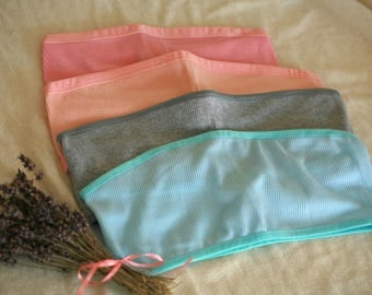 Soft cotton bandeau in teal, grey, peach and pink