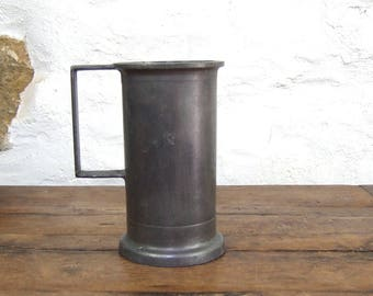 1 French Pewter measure pitcher vase tankard container gray grey neutral organic