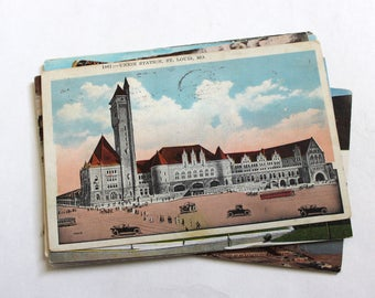 15 Vintage St Louis Missouri Postcards Used - Collage, Mixed Media, Scrapbooking, Assemblage, Paper Craft, Art Journal Supplies
