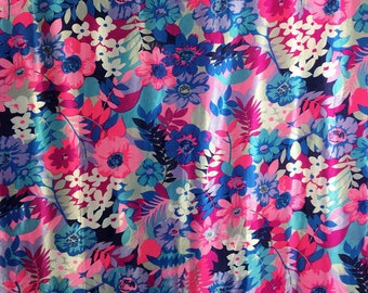 Vintage 60s 70s Hawaiian Floral Fabric Rare Blue Pink Silky Printed Flowers