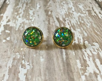 Nickel free! Gorgeous lime glitter studs