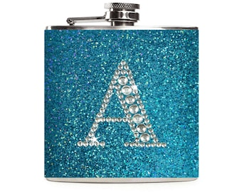 Personalized Glitter Flask Monogram Blue Turquoise Rhinestone Initial Sparkle Bling Custom 6oz Hip Flask