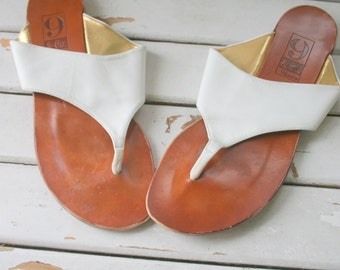 1980s 9 WEST SANDALS....size 9 women...boho. leather flats. designer vintage. shoes. womens. indie. white leather. 9 and company. aztec
