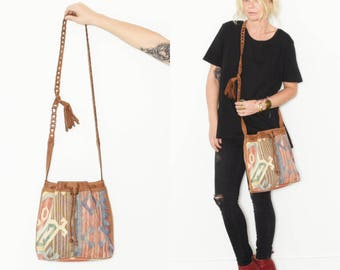 Vintage Kilim Bucket Bag , Leather Kilim Bag