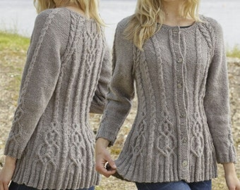 Knit Multi Cable Flared Cardigan - MADE TO ORDER