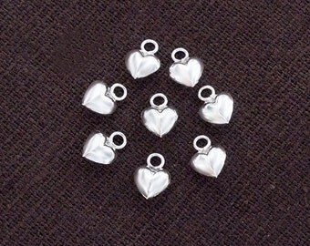 10 of 925 Sterling Silver Heart Charms 5.3 mm. :th2537