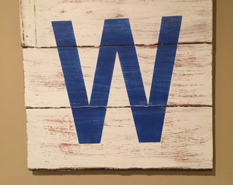 """Large Reclaimed Wood Cub's """"W"""" Sign"""