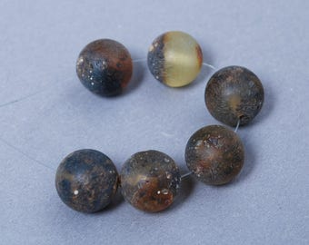 Set of 6 New Natural Genuine Baltic Amber smooth round beads. Unpolished raw black gemstone 12 mm (n9)