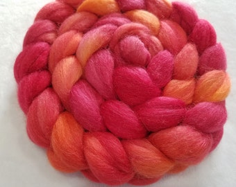 Merino/Baby Alpaca/Silk Roving-50/30/20-Hand Dyed/Painted - 4 oz - Cherry Red and Cantaloupe Orange