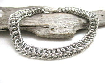 Silver Chainmaille Bracelet - Half Persian 4:1 - 7/32