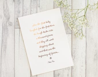 Copper Foil Print - Peter Pan Beginning of Fairies Quote - J M Barrie Quote, Fairy Print, Fairy Bedroom, Nursery Decor, New Baby Gift