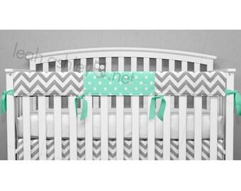 teething crib rail cover protector gray chevron mint polka dot tr2
