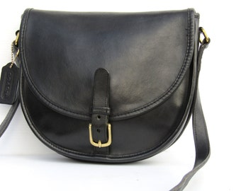 Vintage Coach Bag // Black Leather Trail/Saddle Buckle Bag // Made In NYC // Early 1980s.
