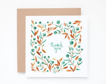Floral thank you card, Thank you greeting card, thank you card set, stationery cards, pattern notecard, thank you notecard, floral card
