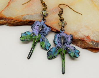 Iris Earrings, Purple Iris Earrings, Spring Iris, Bearded Iris, Lavender Iris Earrings