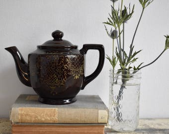 Vintage Japanese Brown and Gold Teapot