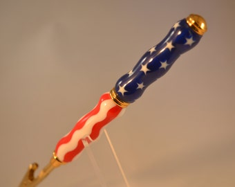 Red, White and Blue Acrylic Bracelet Assistant in 24K Gold Plate