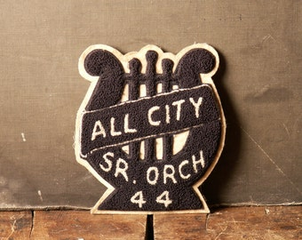 Vintage Letter Jacket Black and White Lyre Shaped Felt Patch - All City Senior Orchestra - 1944