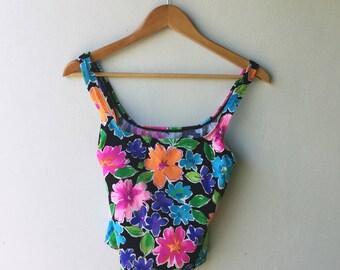 1990s Vintage NEON Floral Swim Suit Top // Size Small