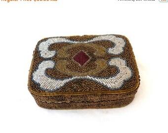 ON SALE Vintage hand beaded satin jewellery box, beaded trinket box, travelling jewellery box