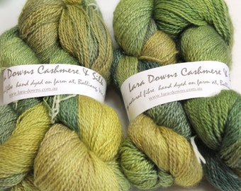 Cashmere Silk 2 ply knitting yarn - hand dyed
