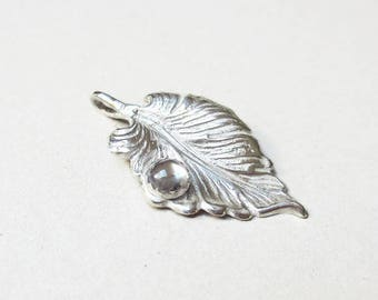 Silver leaf pendant,  dew drop necklace, dew, drop, pendant, fine silver pendant, water drop pendant, pmc pendant