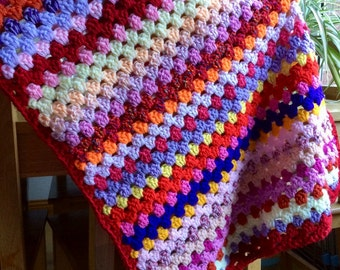 Warm Shades Granny Rows Crochet Blanket