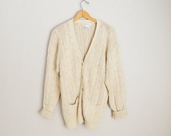 vintage calvin klein linen silk slouchy tan cable knit cardigan sweater --womens large