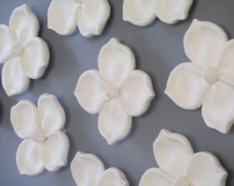 Ceramic Flowers, CUSTOM ORDER, Dogwood wall hanging, wedding gift, anniversary gift, poppies, floral art, ceramic dogwood, mural