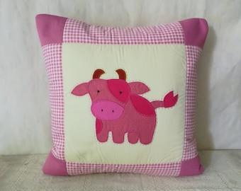 COW Decorative Pillow Cover, Quilt Throw Pillow, Applique Patchwork Pillow Slip, Kid Cushion Cover 15 inch, Cotton Pillow Slip