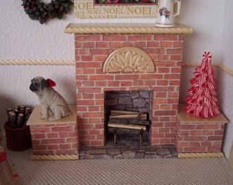 1:6 Fireplace with Bonus Tree for Silkstone Barbie, Fashion Royalty, Blythe