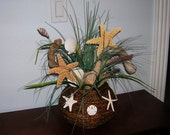 Starfish, Seashell and Driftwood Arrangement in a Shell Covered Rattan Bowl, Beach Lover Wedding Gift