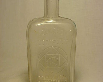 c1890s Alameda Company Boston, Mass, Cork Top Clear Half Pint Strap Side Pre Prohibition Whiskey Bottle Flask