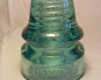 c1890-1900 Gayner No. 36 - 190 , Aqua Glass Electric Telegraph Telephone Insulator