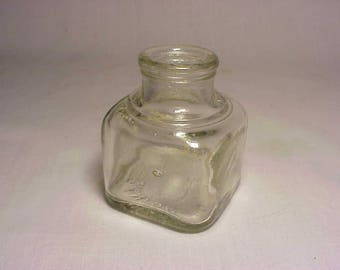 c1920s Sanford's Cork Top Clear Glass Square Inkwell Ink Bottle No. 2