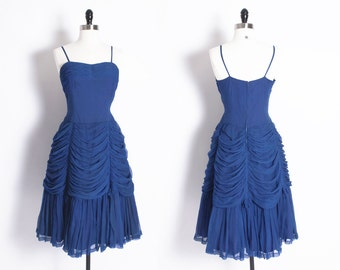 vintage 50s 60s Blue crepe chiffon tiered and draped dress / layered blue dress