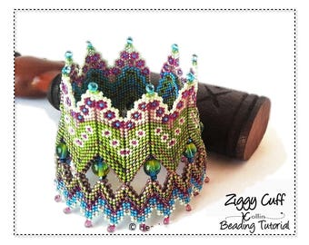 Beading Pattern Geometric Peyote stitch Rick Rack Double walled wide cuff Instructions DIY Beaded Jewelry Tutorial  PDF Download ZIGGYCUFF